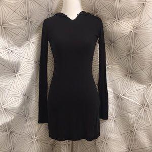 Mini Black Long-Sleeve Shirt Dress w/ Hood